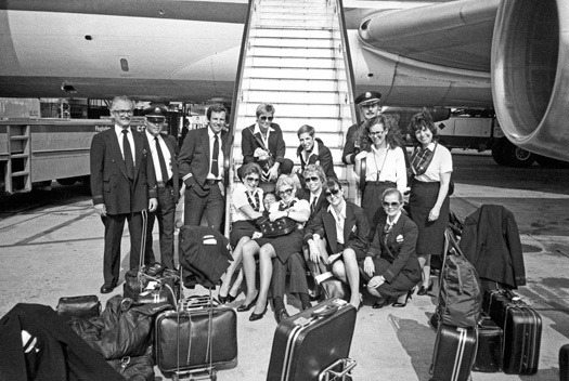 Lucien Samaha Cockpit and Cabin Crews, Flughafen Frankfurt am Main (The Flight Attendant Years), 1983, printed 2013 digital print 21 x 29.75 inches 53.3 x 75.6 cm