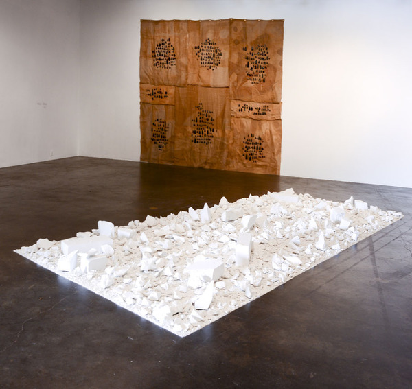 Allyson Vieira, A Plan for Swamplands, 2007/2012, Plaster, 178 x 99 x 9 inches, Courtesy the Artist and Laurel Gitlen Gallery, New York, NY; Mark Hagen, To Be Titled (The Madness of Kirk Wood), 2012, Obsidian on Burlap with brass grommets, 11 x 11 feet, Courtesy the Artist; International Art Objects, Los Angeles, CA; Almine Rech Gallery, Paris, France; and Brussels, Belgium. Photo: Dani Lynch