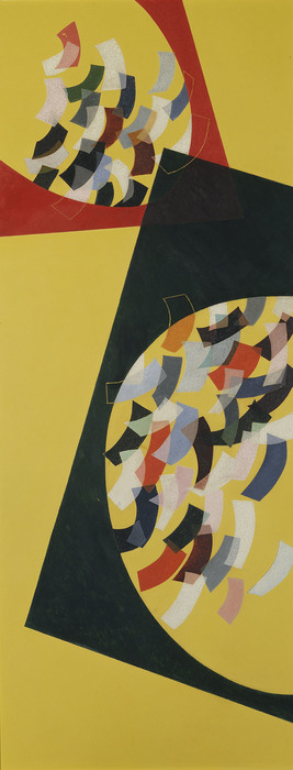 László Moholy-Nagy, C H For Y Space Modulator, 1942, Oil on yellow Formica, 60-5/8 x 23-5/8 in., Collection Hattula Moholy-Nagy