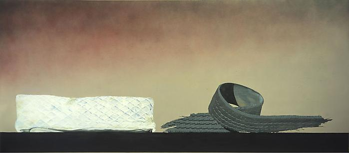ED RUSCHA Psycho Spaghetti Western #8, 2010-2011 Acrylic with used motor oil on canvas 48 x 110 inches (121.9 x 279.4 cm)