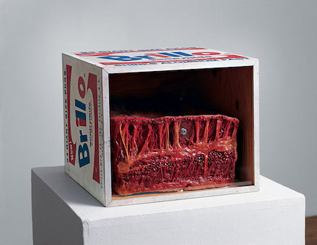 Paul Thek (1933–1988), Meat Piece with Warhol Brillo Box, 1965, from the series Technological Reliquaries. Wax, painted wood, and Plexiglas, 14 × 17 × 17 in. (35.6 × 43.2 × 43.2 cm). Philadelphia Museum of Art; purchased with funds contributed by the Daniel W. Dietrich Foundation, 1990 © The Estate of George Paul Thek; courtesy of Alexander and Bonin, New York