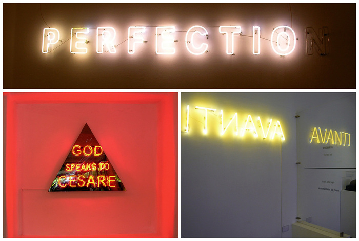 Neon light texts by Cesare A.X. Syjuco