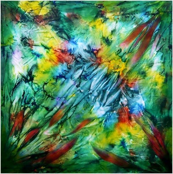 HANNA SCHERIAU, Globale Krise (Global Crisis), 2012, 110x110cm, bemalte Seide auf Leinwand (painted silk on canvas)