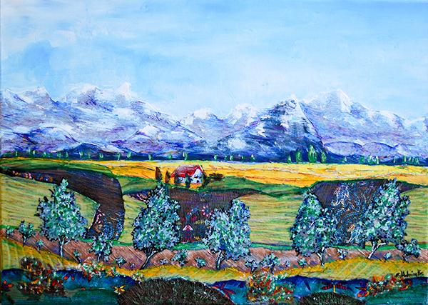 Admira-Bradaric,-Textilien-auf-Leinwand-und-Ol-faben-,-50x70cm