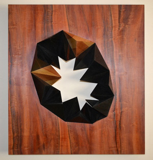Geometryart, GEO-002-2014, 80 x 72,5 x 7 cm, Oak Wood, Indian Apple Tree, Ebony Macassar, Tinto Nero, Pine,
