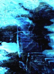 Paul Tiililä, ihminen lumimyrskyssä, digital art auf Leinen, 50 x 35 cm,