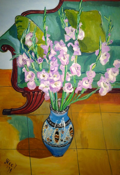Alice Neel Gladiolas 1974 oil on canvas 46 x 32 inches