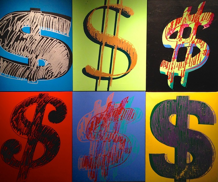 Andy Warhol 6 Dollar Signs 1982 synthetic polymers and silkscreen inks on canvas each is 20 x 16 inches