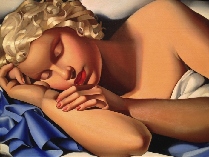 Tamara De Lempicka - La Dormeuse (Kizette) I 1933 oil on panel 12.25 x 16.125 inches (31 x 41 cm)