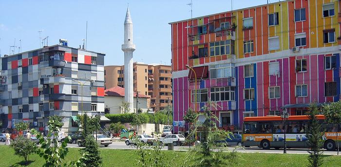 Tirana Albania  City pictures : Tirana, Albania: Colourful houses along the Lana River. Tabakëve ...