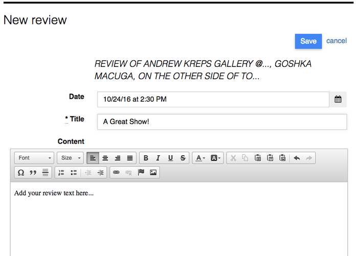 How to write exhibition review