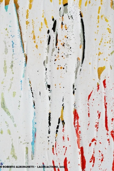 IT'S RAINING OLYMPIC COLORS - ROBERTO ALBORGHETTI 2012, MIXED MEDIA (REALISTIC IMAGE OF TORN AND DECOMPOSED POSTER)