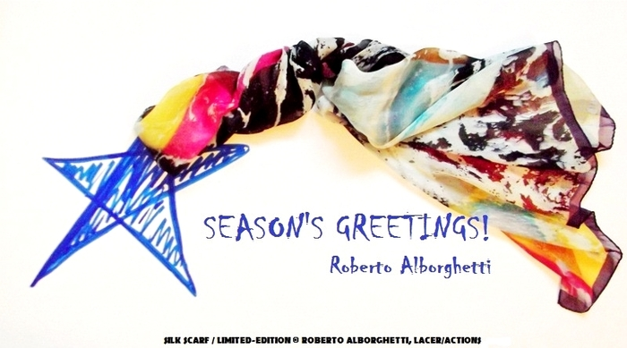 Silk scarf - Lacer/actions by Roberto Alborghetti