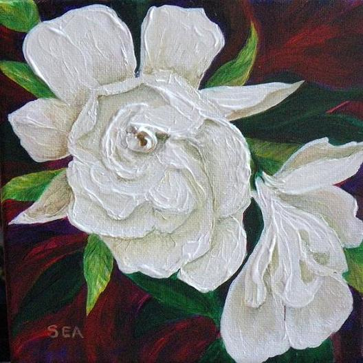 "12008 - Fragrant Gardenia - 6"" x 6"" By Sea Dean"