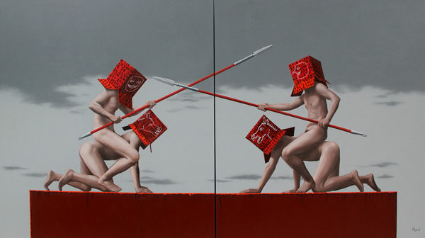 Battle (diptych), oil on canvas, 200 x 180cm each,2011
