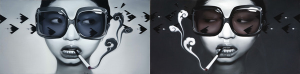 Mu Lei, Bad Girl (diptych), oil on canvas, 200 x 100 cm each,2008