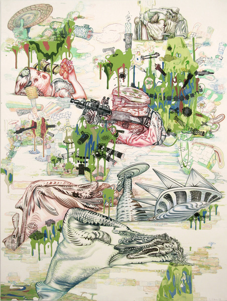 "J.Fiber, Mishap, 2008, acrylic, ink and colored pencil on paper, 40"" x 30"" inches. Courtesy of the artist and Pierogi."