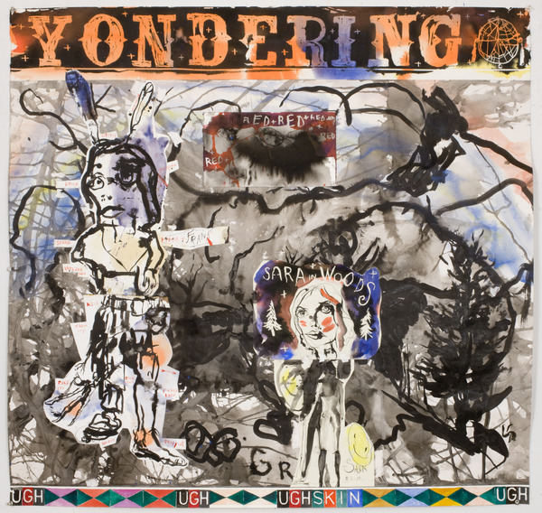 Brad Kahlhamer, Yondering, 2010, collage on paper, 43 x 45 inches