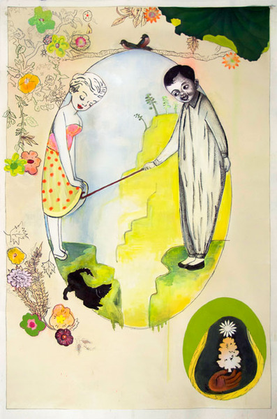 Phyllis Bramson, Little Sentimental Diversions, 2009, mixed media and collage on paper, 54 x 36 inches