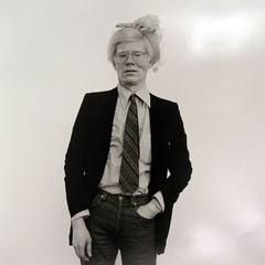 Andy Warhol in a vintage lady\'s hat, Paul Weiss
