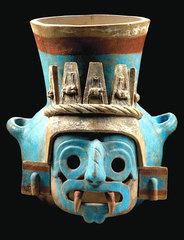 Ceramic vessel featuring Tlaloc (rain deity),
