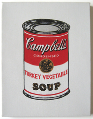 """Andy Warhol Turkey Vegetable (From 32 Campbell's Soup, 1962)"", 1987,Richard Pettibone"