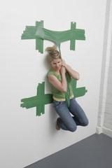 Artist Sitting in Strap,