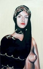 Self Portrait with my Mother\'s Headscarf and the breast of Kate Moss,Sarah Maple