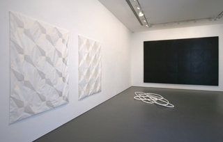 Installation view of the main exhibition space Untitled (White Rectangle, Fabric Version I) - 2009, Untitled (White Rectangle, Fabric Version II) - 2009, Limiting Factors I - 2009 and Untitled (Black Mixed Media Painting II) - 2009, Robert Dowling