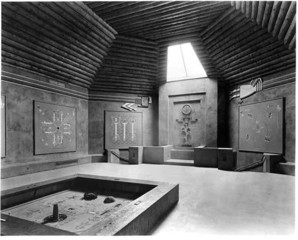 The musuem's gallery in 1938. The sandpainting on the floor was created by a non-Indian artist, ,