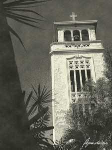Manaoag_church__belfry_sepia