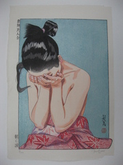 Asa ni Namida  Morning Tears, Azuma Nishiki Bijin Awase series: (A Collection of Eastern Brocade Beauties), Paul Binnie