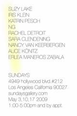 , Suzy Lake, Sara Clendening, Iris Klein, Rachel Detroit, alice konits, ketrin pesch, Erlea Maneros Zabala, ng