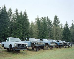 Junked blue trucks, Forks, Washington, Eirik Johnson