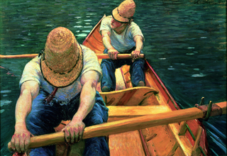 Oarsmen Rowing on the Yerres,Gustave Caillebotte