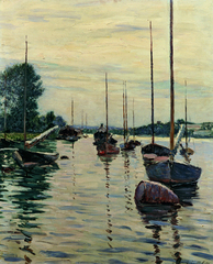 Boats Moored on the Seine,Gustave Caillebotte