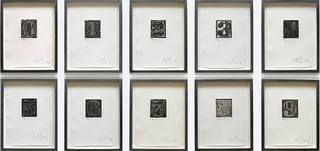 0-9 Set of 10 (ULAE 156-165), 1975, Jasper Johns