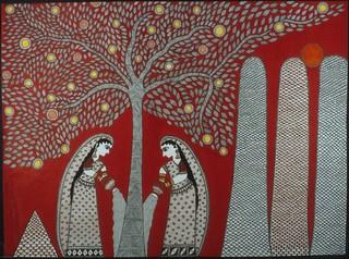 Two women watering Krishna\'s kadam tree, Sangita Kumari Bhagat