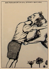 Even Toothless She Can Still Bite Off A Boys Head,Raymond Pettibon
