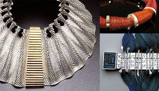 , THE ART OF ARLINE FISCH left, EGYPTIAN DREAM, top right, MULTICOLOR SPIRALS, bottom right, WOVEN FEATHER BRACELET