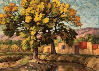 Cottonwoods-Alcalde, Carlos Vierra (1876-1936)