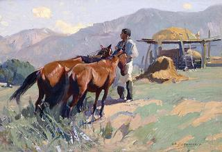 Feeding the Horses, New Mexico, Oscar Berninghaus (1874-1952)