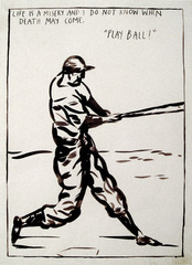 "No Title (Life is a); Detail of the original drawing for the ""Play Ball"", 1987 ,Raymond Pettibon"