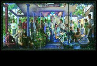 Grupo de personas en un atrio o alegoría del arte y de la vida o o alegoría del arte y de la vida o del presente y del futuro, 1975, Guillermo Pérez Villalta