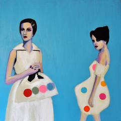 Two Women Passing in Blue, Joshua Petker