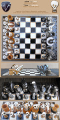 Alive vs. Dead (chessboard + pieces), Patricia Krebs