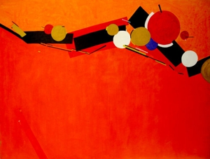 Composition_in_red_acrylic_on_canvas_36x48_inch