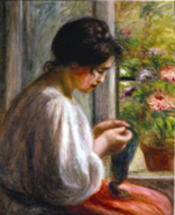 Seamstress at a Window,Pierre Auguste Renoir