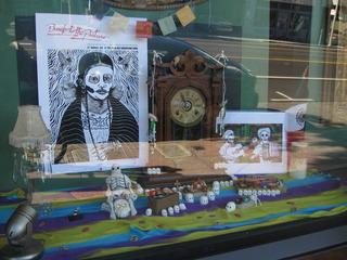 El Tiempo Se Va, Window Installation for the 8th Annual Day of the Dead Art Exhibition, Randy Figures