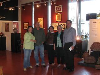 Curator Maria V. Pinedo, artist Adalberto Pérez-Meillón, Servio Gómez at Back to the Picture Latin American Gallery, Northern México Artistry,